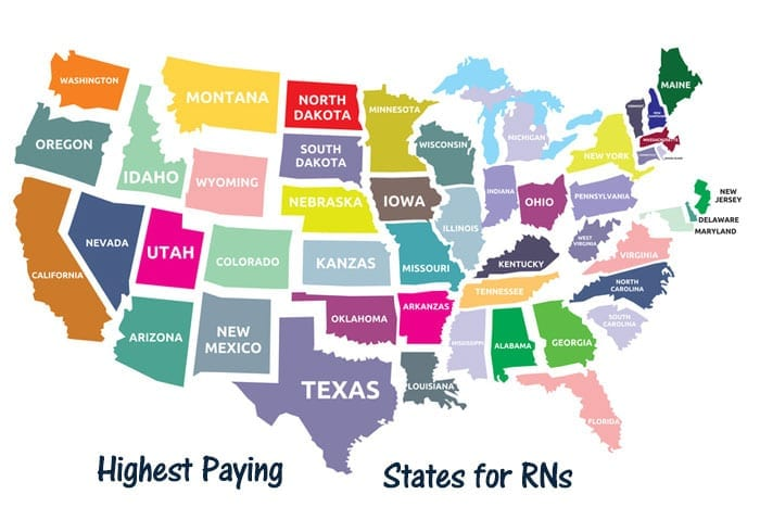 Map of United States showing highest paying RN jobs